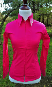 YOUTH Zip Up Fitted Show Shirt - Hot Pink