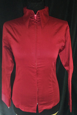Ladies Zip Up Fitted Show Shirt - Burgundy