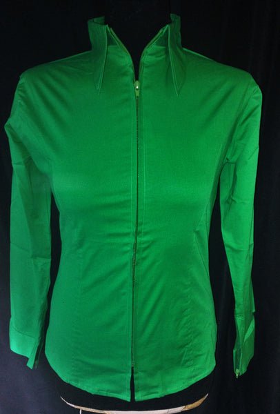 Ladies Zip Up Fitted Show Shirt - Emerald Green