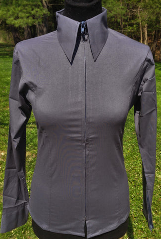 Ladies Zip Up Fitted Show Shirt - Charcoal