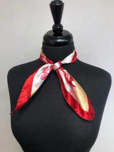 Red & Tan Flower Scarf