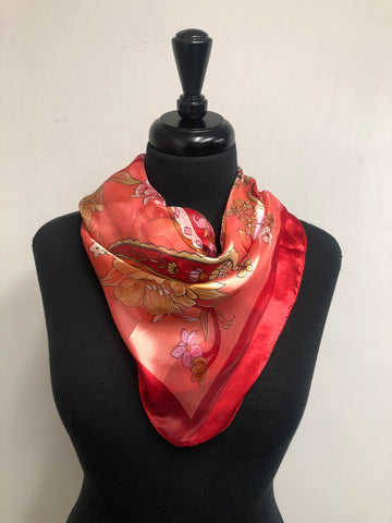Hot Pink & Coral Floral Wild Rag/Ranch Scarf