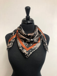 Black, Tan & Rust Snakeskin Wild Rag/Ranch Scarf