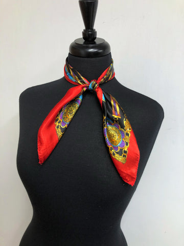 Black, Red & Turquoise Chain Scarf