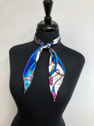 Turquoise & Pink Chain Scarf