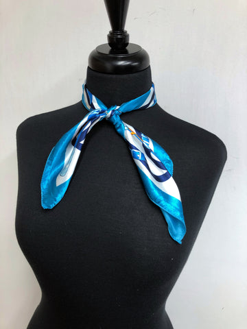 Turquoise, Navy & White Scarf
