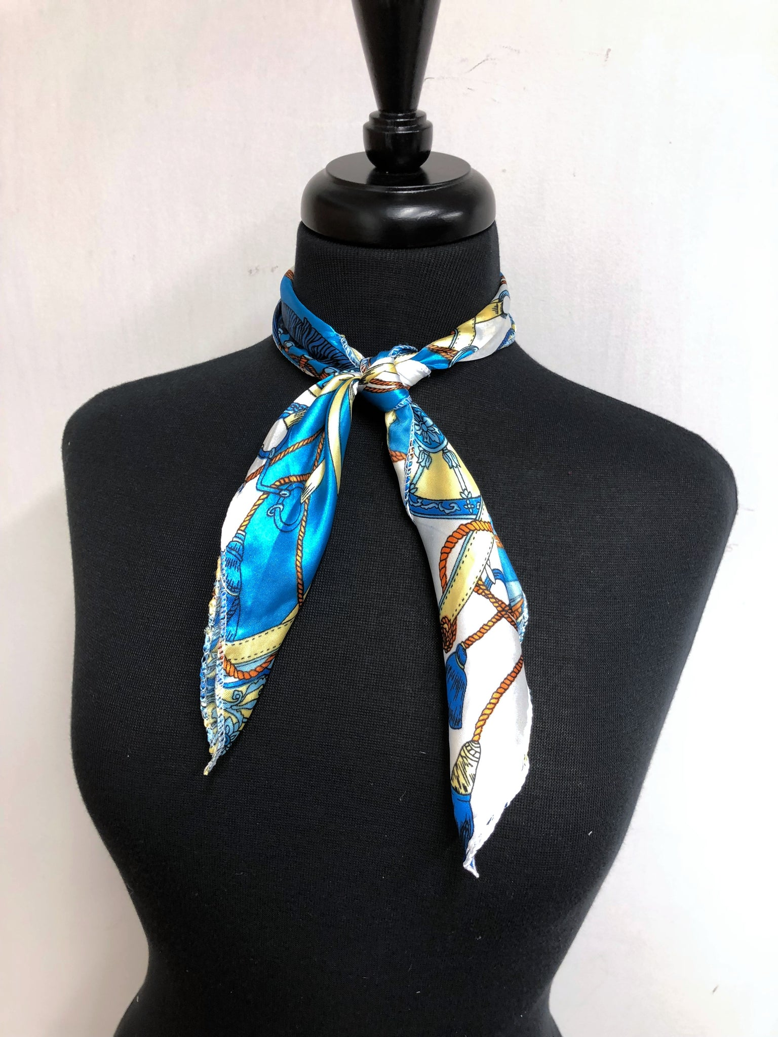 Turquoise & Yellow Chain Scarf