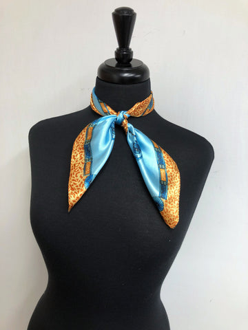 Turquoise & Leopard Scarf