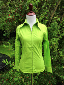 Ladies Zip Up Fitted Show Shirt - Lime Green