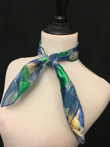 Blue & Green Umbrella Stripe Sheer Scarf