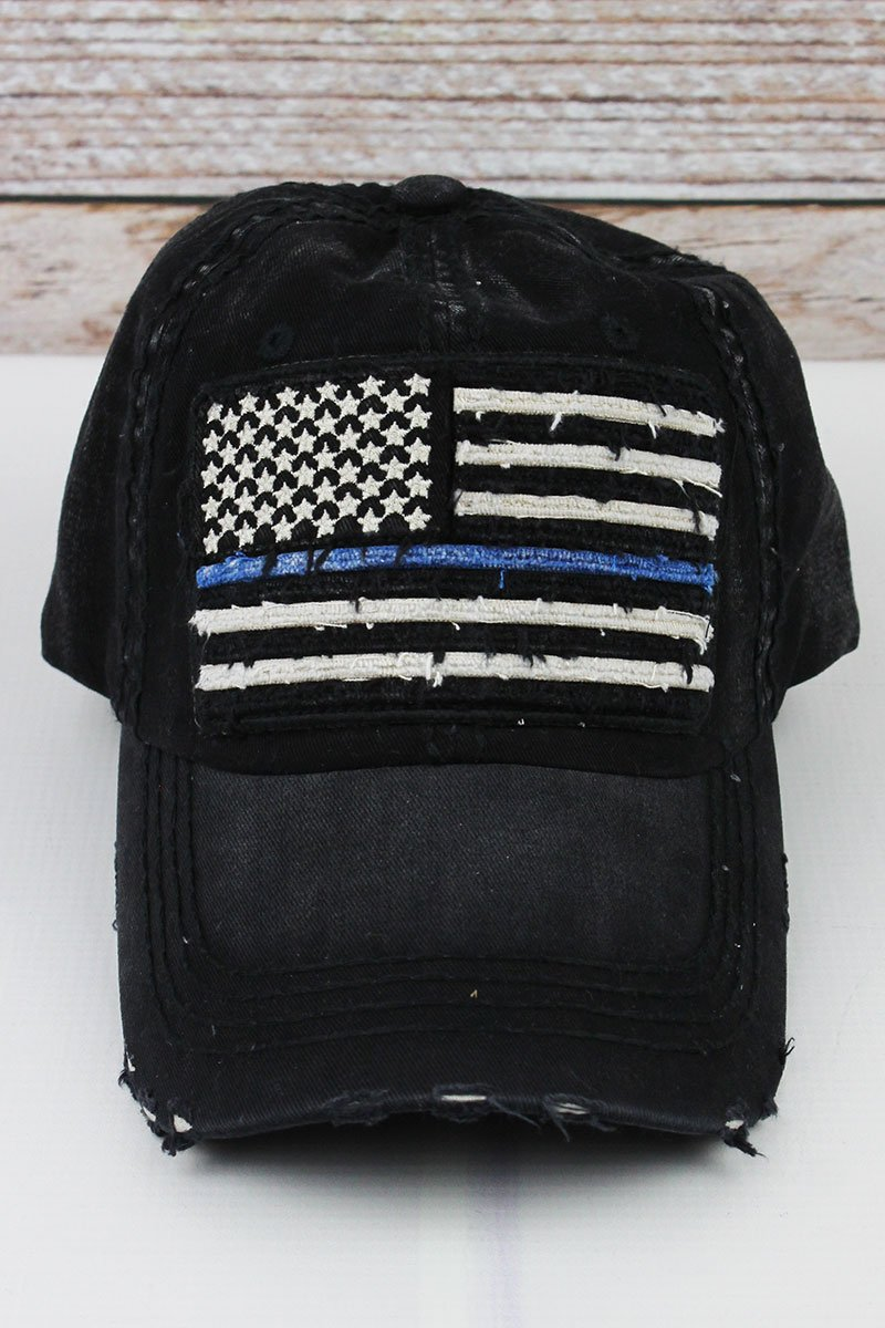 Black Thin Blue Line Hat