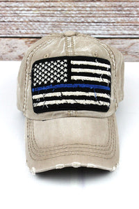 Tan Thin Blue Line Hat
