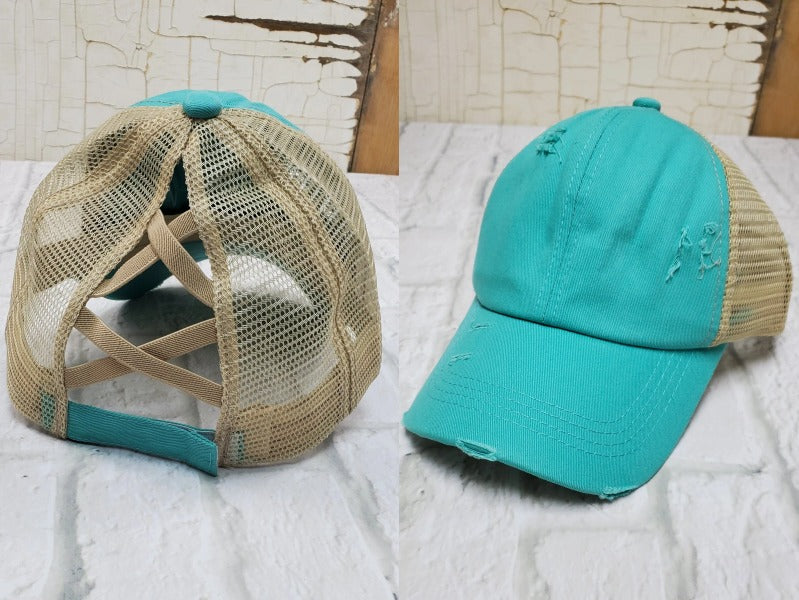 Turquoise High Pony Tail Hat