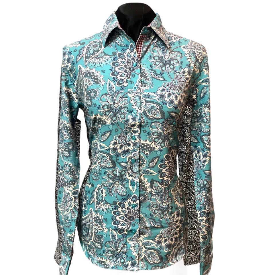 A Printed Fitted Button Down - Mint/Teal Paisley