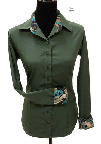 Ladies Button Up Shirt With Accent Collar & Cuffs - Olive Green