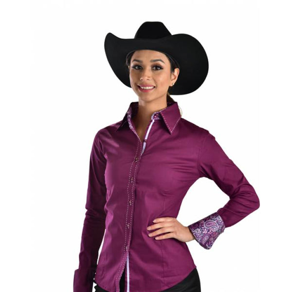 Buck-stitch Ladies Button Up Shirt - Berry/Plum