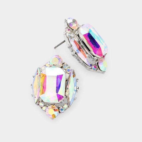 Emerald Cut Crystal Earrings (Multiple Colors Available)
