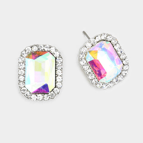 Rectangle Crystal Earrings (Multiple Colors Available)