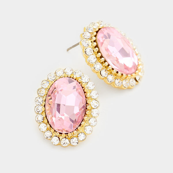 Oval Crystal Earrings (Multiple Colors Available)