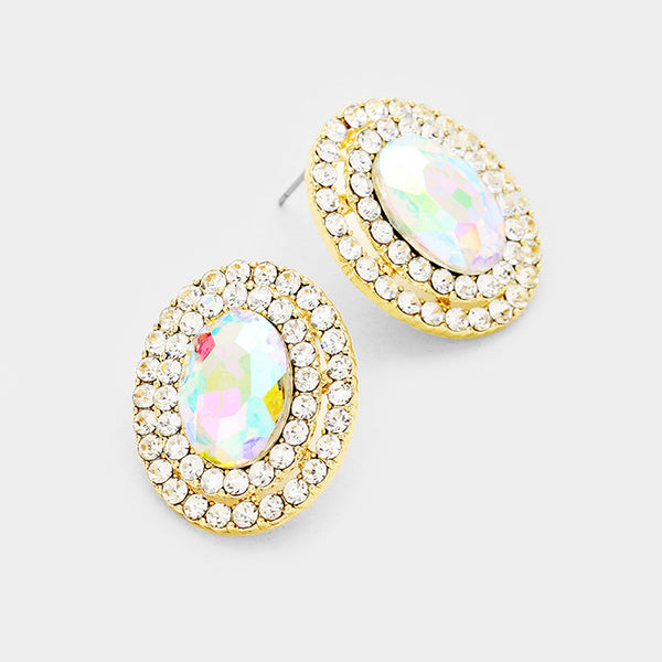 Oval Crystal Earring (Multiple Colors Available)