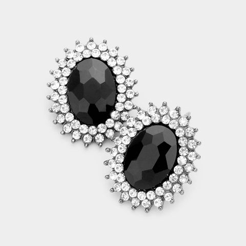 Crystal Oval Burst Earrings (Multiple Colors Available)