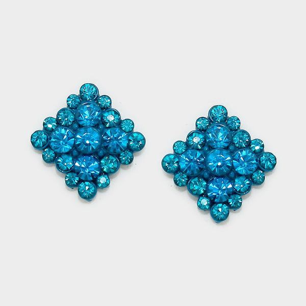 Crystal Diamond Earrings (Multiple Colors Available)