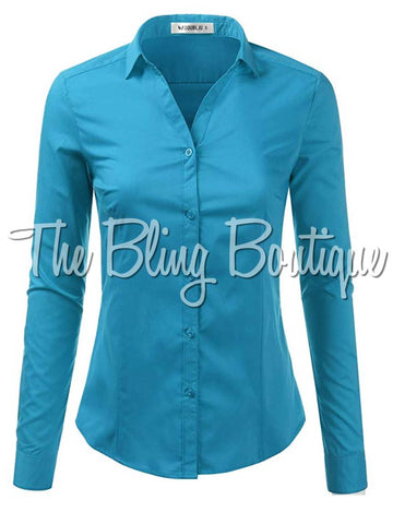 (Multiple Colors Available) PLUS SIZE Button Down Shirt
