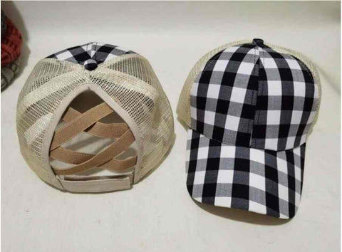 Black & White Buffalo Plaid Pony Tail Hat