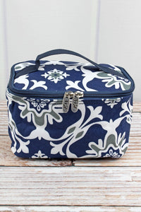 Navy Blue & Grey Cosmetic Case
