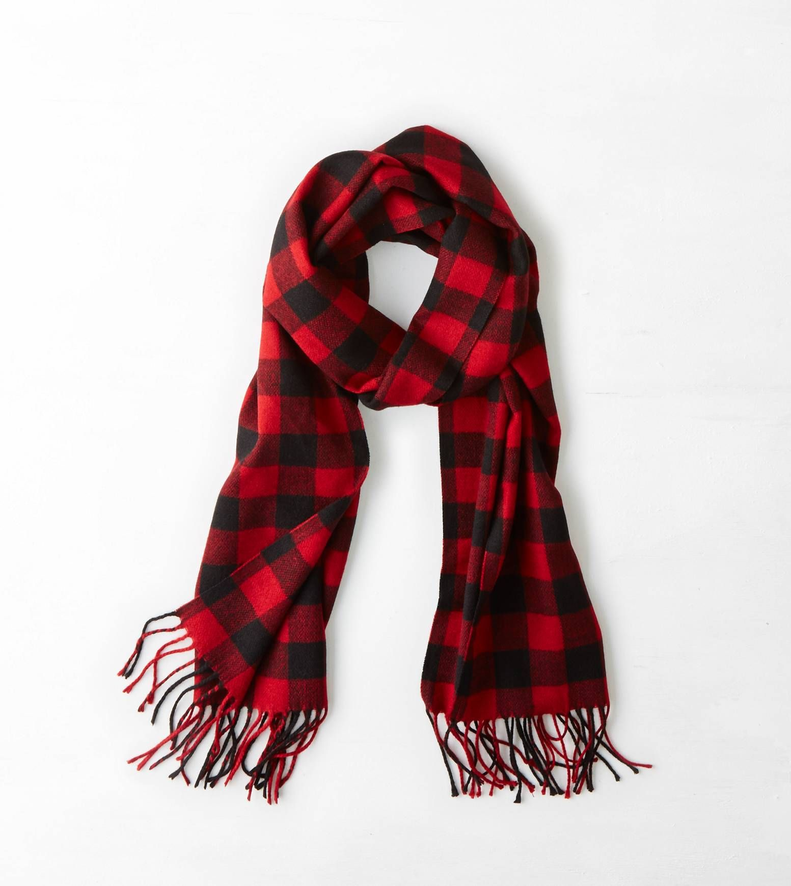 Black & Red Buffalo Check Scarf