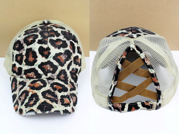 Leopard High Pony Tail Hat