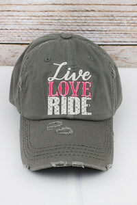 "Grey ""Live, Love, Ride"" Hat"