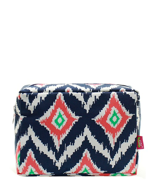 Navy & Coral Print Cosmetic Case