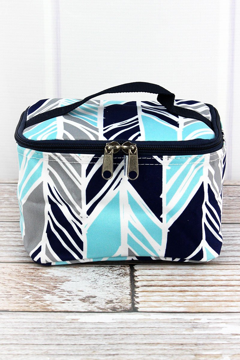 Aqua, Grey & Navy Print Cosmetic Case