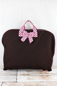 Brown & Pink Quilted Garment Bag