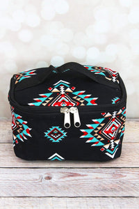 Turquoise & Red Aztec Print Cosmetic Case
