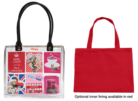 Clippy liner for small tote bag - basic version in red