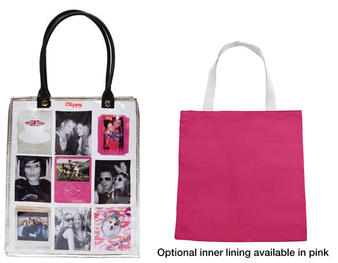Clippy liner for medium tote bag - basic version in pink