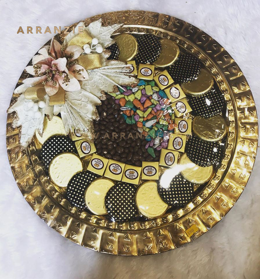 Royal Round Trousseau Style Gift - Elegant Metal Round Tray of Assorted Chocolates