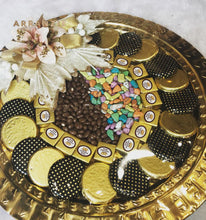 Load image into Gallery viewer, Royal Round Trousseau Style Gift - Elegant Metal Round Tray of Assorted Chocolates