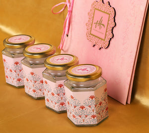Pink Floral theme elegant wedding boxed invitation with sweet jars