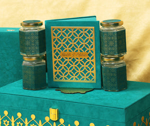 Turquoise royal mesmerizing theme wedding boxed invitation with sweet jars