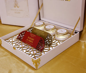 Light Box Golden and Cream royal court elegant theme wedding boxed invitation with sweet jars