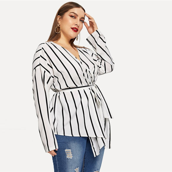 Alexa Belted Striped Blouses