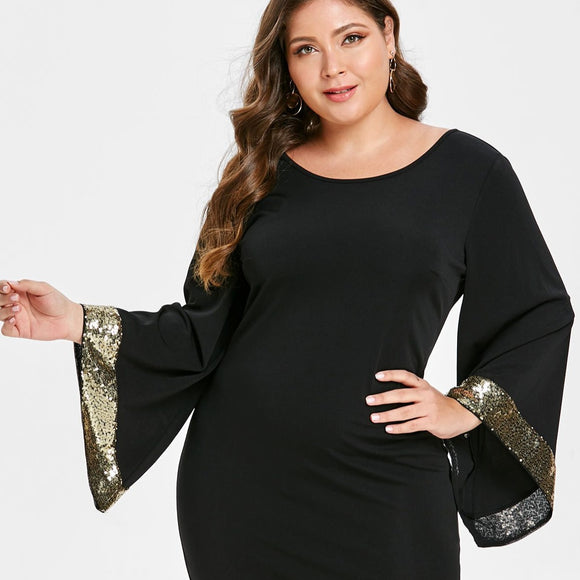 Tara Sequin Flare Sleeve Dress