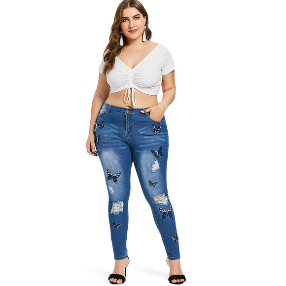 Bekka Butterfly Distressed Embroidered Jean