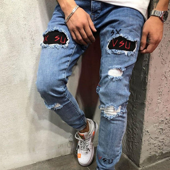 Distressed  Ripped Denim Jean