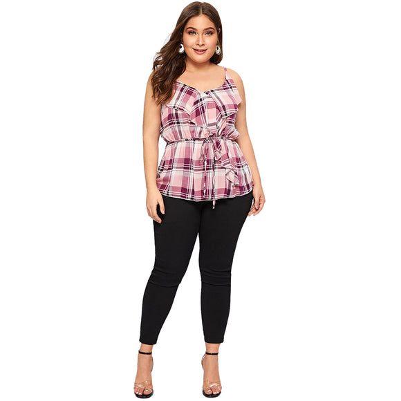 Angelica Plaid Sling Top