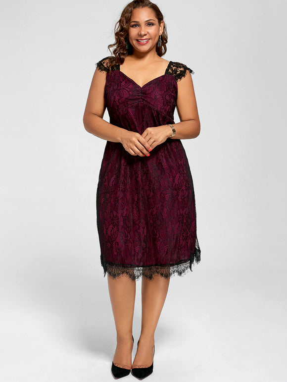 Ruby Eyelash Lace Dress