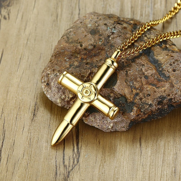 Bullet Cross Stainless Steel Necklace